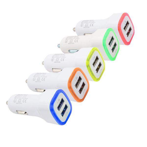 Foguete design de luz led 5 v 2a dual usb adaptador de carregador de carro para iphone 6 7 samsung universal coche de cargador cab161
