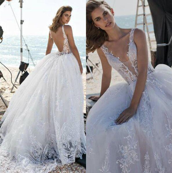 Pnina Tornai Plus Size Wedding Dresses 2019 Spaghetti Backless Lace Wedding Dress Beach Appliques Beads Bridal Gown Vestidos De Novia