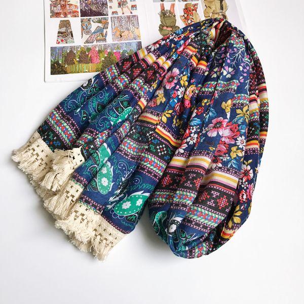 Women Ancient Floral Cotton Scarf Ethnic Paisley Tassels Hijab Blanket Shawl Hot 180x90 cm