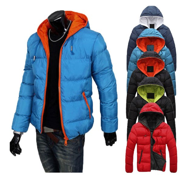 Mens Crosshatch Jacket Winter Thick Coat Faded Contrast Coat Bubble Quilted Puffer Padded Hooded
