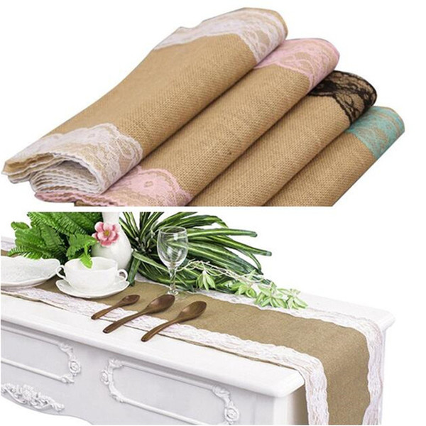top popular Burlap Lace Table Runner Chair Sashes Vintage Table Cloth with Lace and Finished Edges for Wedding Party Bridal Shower Babe Shower 30*275cm 2019