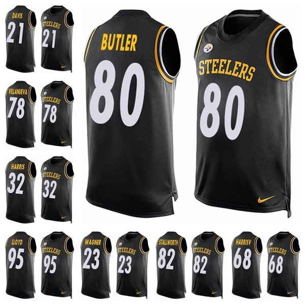 100% authentic 728c4 9e25e 2019 Pittsburgh Black Player Name & Number Tank Top Steelers 26 Bell Jersey  84 Antonio Brown 90 T.J. Watt Limited Football Jersey 82 From ...