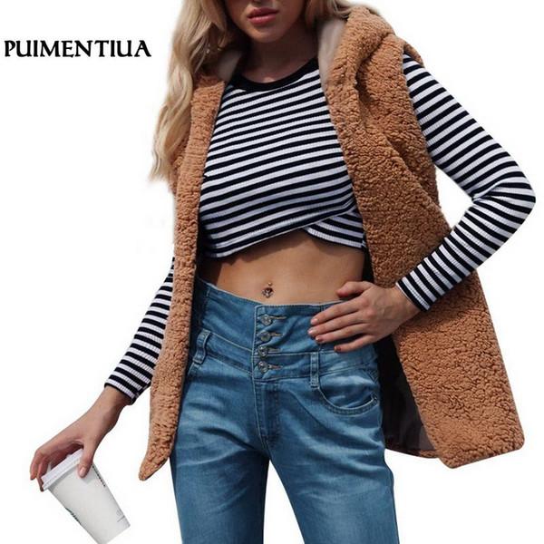 Puimentiua 2019 Women Vest Winter Warm Hoodie Outwear Casual Coat Faux Fur Zip Up Waistcoat Coletes Feminino Gilets Plus Size