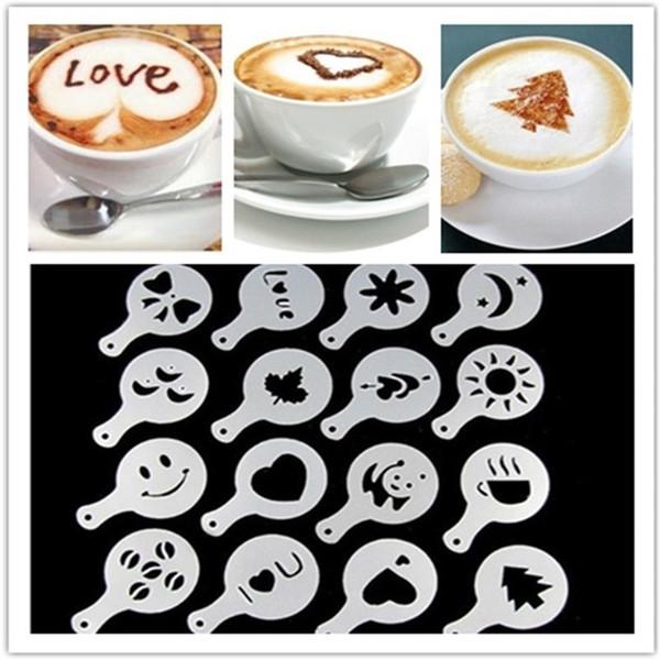 Coffee Template Cappuccino Barista Cake Milk Art Stencils Cake Duster Spray Tools Templates 16Pcs Molds Hot Sale 1 8tt ii