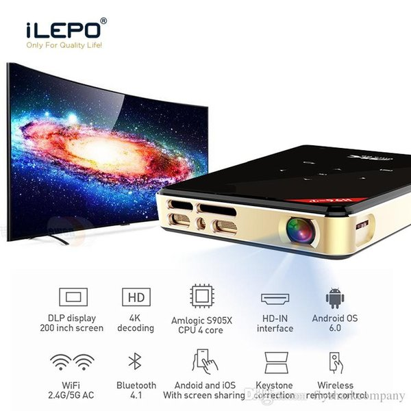 HD 4K Decoding Led Light Projector DLP 200 Inch Screen Amlogic S905X 2+16G Android 6.0 Smart Projector HDMI 5G Wifi BT4.1 Mini Projector
