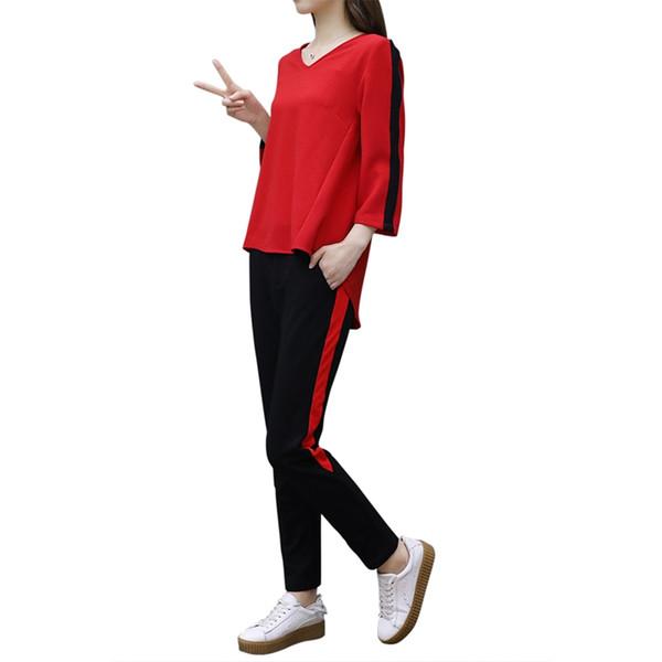 T-Shirt con scollo a V dolce da donna 2 pezzi + Pantaloni a vita bassa a righe laterali Maniche a tre quarti Set da donna Abbigliamento sportivo Tuta casual