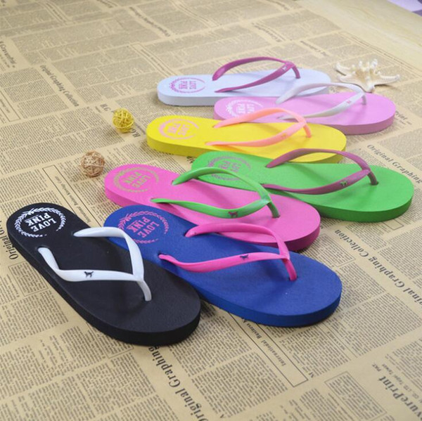5 Colors Girls Pink Flip Flops Love Pink Sandals Pink Letter Beach Slippers Shoes Summer Soft Beach Slipper 2pcs/pair DHL Free