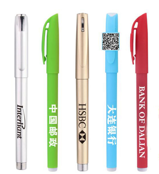 Customized gel pen Writing Pens advertising carbon pen with custom LOGO QR code black/Red/Blue color For advertise exhibition Gifts 0.5mm