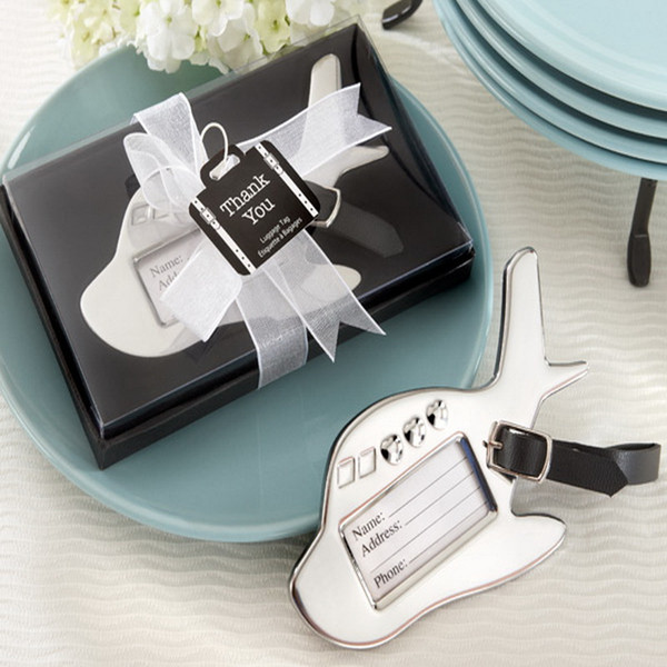 FREE SHIPPING 80pcs/lot Destination Wedding Favors Metal Airplane Luggage Tag For Travel Party Giveaways Gift To Guest