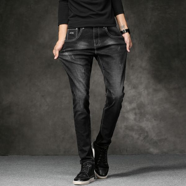 Fashion Men's Denim Jeans Trendy Scratched Men Jeans Pants Slim Fit High Quality Black Blue Trousers