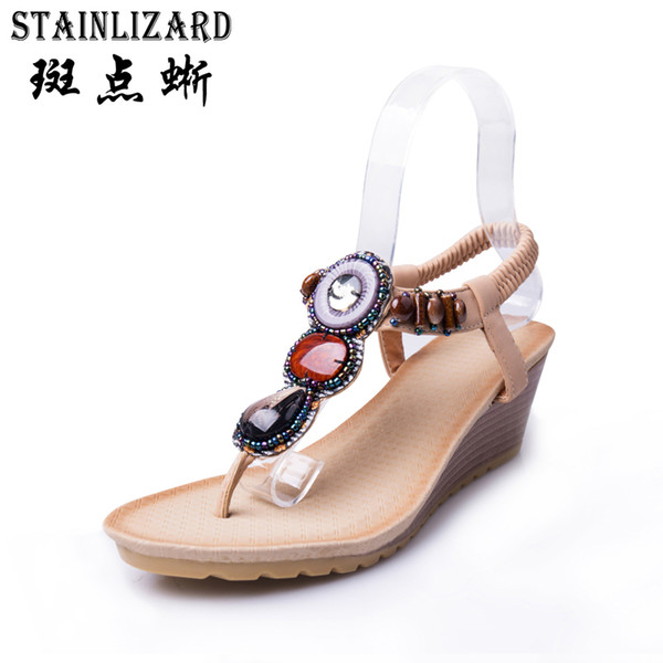 Women shoes 2017 summer new fashion Bohemian slope with female sandals footwear hand beaded Sandals Women Flip Flops BT531