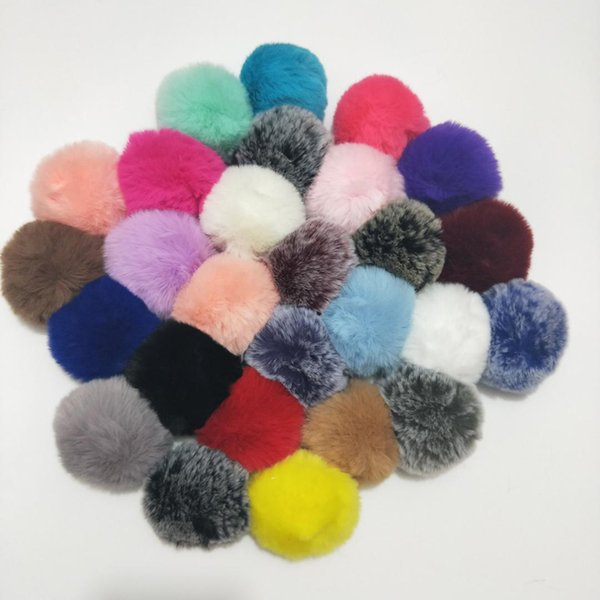 2018 Simple Key Chain Fur Ball Pompon Keychain Pompom Artificial Rabbit Fur Animal Keychains for Woman Car Bag KeyRing 27 Colors