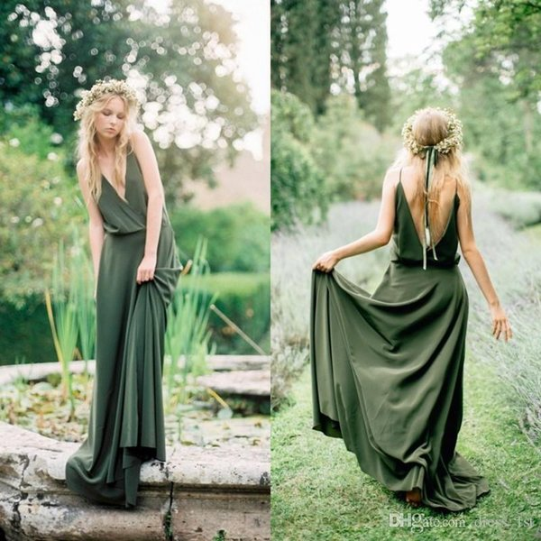 Bohemian Olive Green Chiffon Bridesmaid Dresses 2018 Sexy Cheap V-Neck Backless Spaghetti Straps Maid of Honor Dress For Wedding Guest