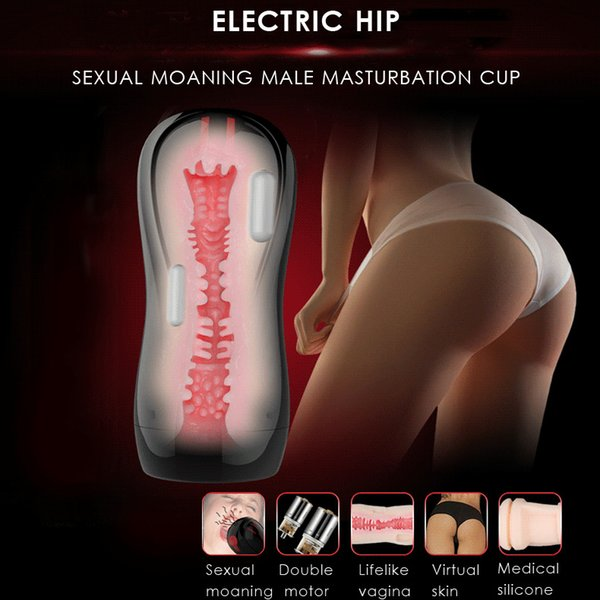 Leten 3 Çift motor Titreşim Akıllı cinsel inilti Elektrik erkek Masturbator kupası, Yapay Vajina pussy Seks Oyuncakları Erkekler için D18110607