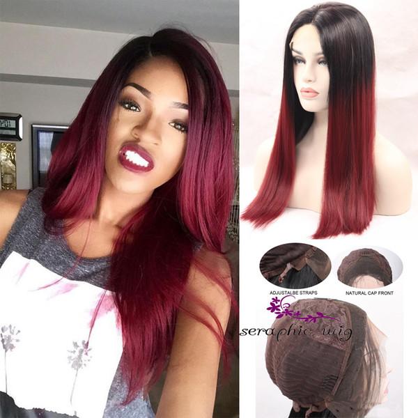 Ombre 1BT99J parrucca piena del merletto capelli vergini brasiliani diritto serico parrucca anteriore del merletto dei capelli rosso con radici scure per le donne