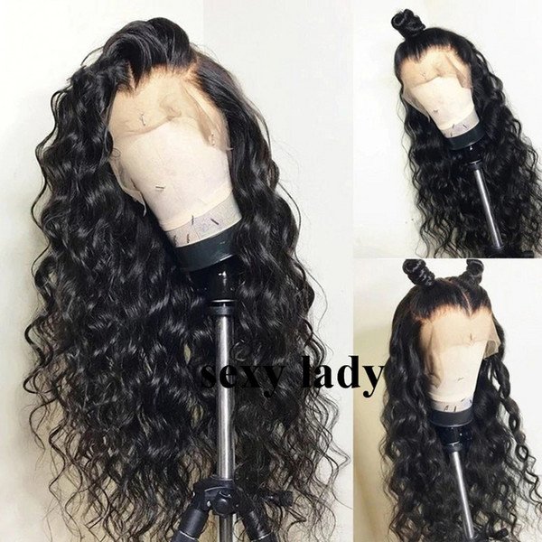 180density deep loose wave black/brown/burgundy Wig Pre Plucked With Baby Hair Brazilian full Lace Front Wigs synthetic hair for black women