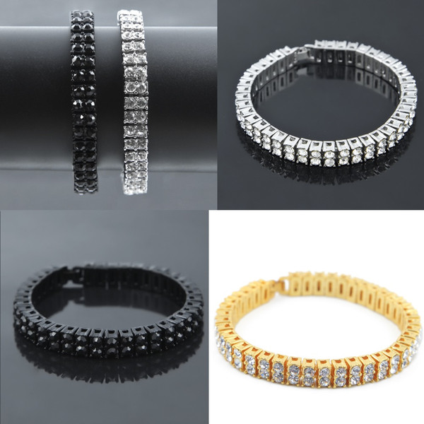 Iced Out 2 Rows Rhinestones Cluster Tennis Bracelet Fashion Men's Jewelry for Party Wedding Diamond 20.5*0.8cm Bracelet blingbling