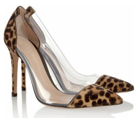 2018 Novas mulheres leopardo saltos altos rebites de salto fino bombas sapatos de festa spike stud bombas vestido sapatos sapatos de leopardo