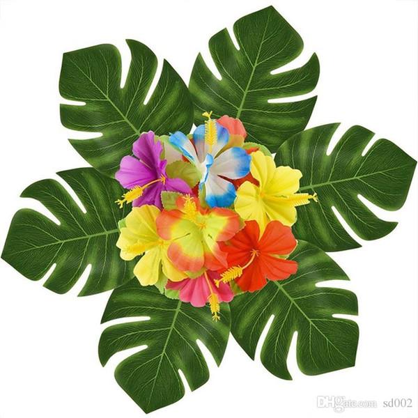 Kreative Simulation Leavies Partei Liefert Portable Home Decor Hawaii Künstliche Blatt Von Tortoiser Flower Beach Thema Schmücken 14 hb aa