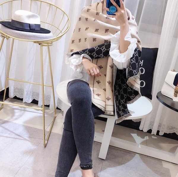 Women Luxury Italy Winter Warm Shawl Double Side Print Blanket Pashmina Cashmere Poncho 180*70cm