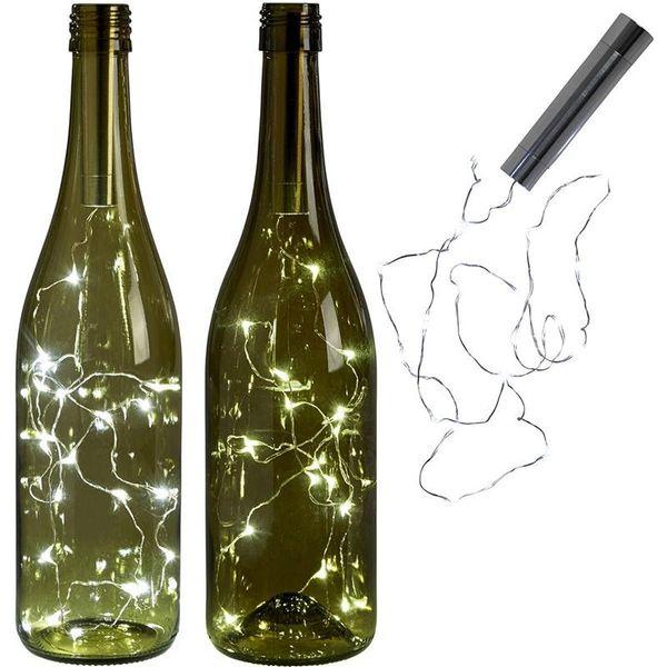 Puissance de la batterie chaude lumières de bouteilles blanches LED Cork Forme Guirlandes Bistro Bouteille de vin Starry Bar Saint-Valentin Party