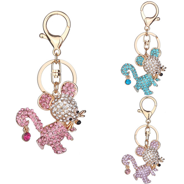 Free DHL 3 Styles Keycains Mouse Key Rings Unique Gifts Women Bag Decorate Alloy Rhinestone Key Holder High Quality D324Q