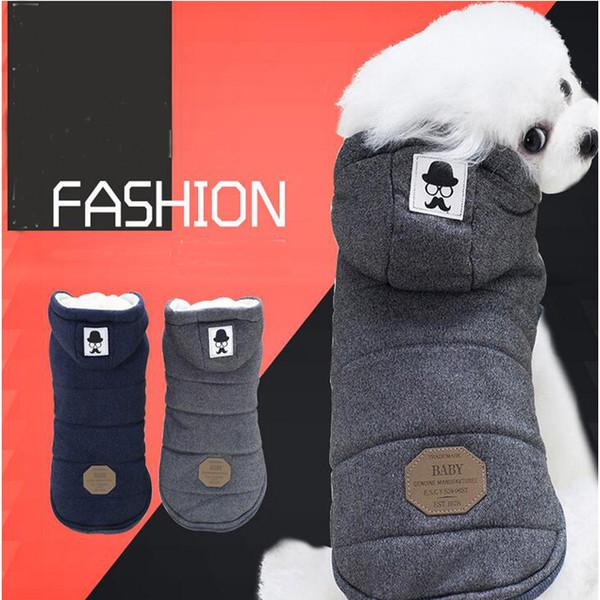 Großhandel Zwei Füße Winter Hundebekleidung Super Warm Weicher Baumwolle Gepolsterter Hund Winter Haustier Hund Jacke Blau Grau Farbe S XXl Größe Von