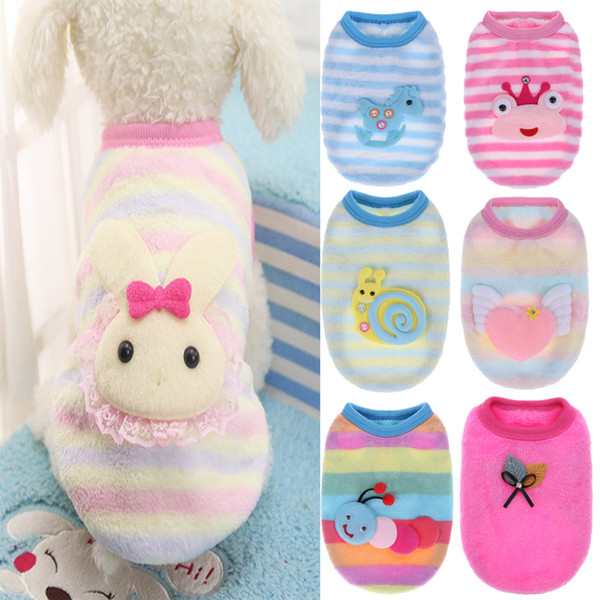 Autumn/Winter Cartoon Pet Puppy Cat Coats Jacket Warm Soft Fleece Dog Clothes for Small Dogs Yorkshire Clothing