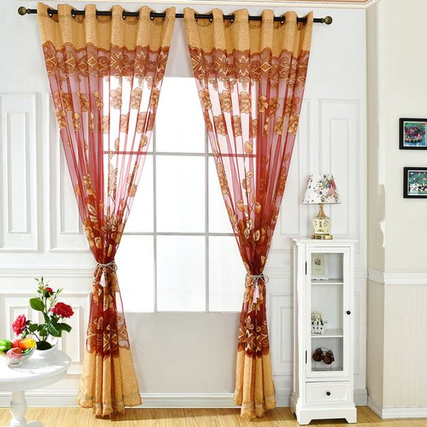 2019 Door Decor Window Curtain Modern Flower Tulle Drape Panel Sheer Scarf  Valances Half Shading For Kitchen Living Room New From Harriete, $39.96 |  ...