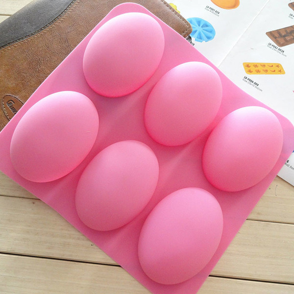 CORATED DIY 6 Slots Cake Mold 3D Oval Goose Eggs Shape Silicone Soap Mould Handmade Chocolate Pudding Candy Cookie Tool