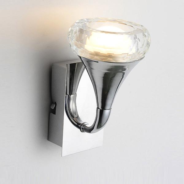 Modern Crystal LED Bedroom Bedsides Wall Lamp Corridor Balcony Hallway Wall Lights Mirror Front Crystal Wall Sconces