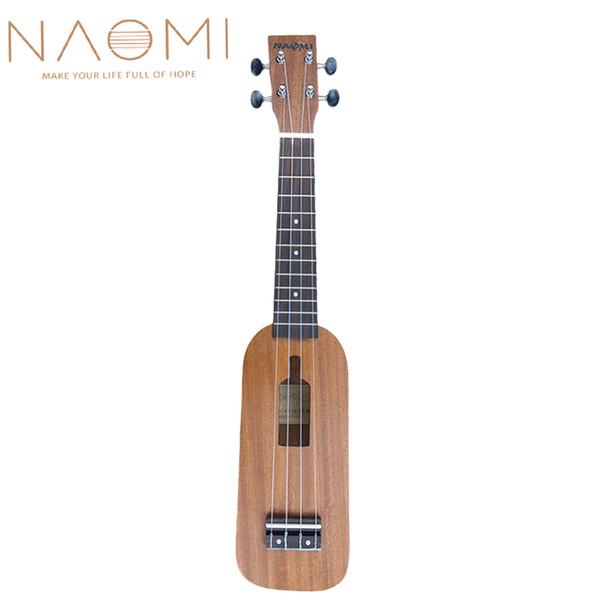 """top popular NAOMI Soprano Ukulele Ukelele Hawaii Guitar Mahogany 12 Frets 21"""" Ukulele Bottle Type 4 String Guitar New 2021"""