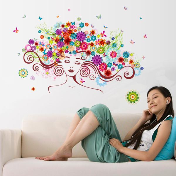 Beautiful woman flower butterflies wall stickers bedroom living room decoration Home Decor decalques 3D ART wallpaper