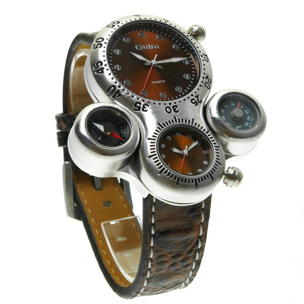TEAROKE OULM Men Quartz Watch Clock Leopard Dual Time Zone Compass Thermometer Big Dial Leather Strap Fashion Sports Watch
