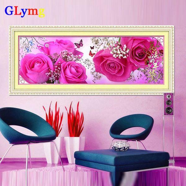 Vente en gros 122X36cm 5D DIY Diamant Broderie Fleurs Rouge Rose Point De Croix Chambre Peinture Décorative Mosaïque Cristal Diamant rond JC8397