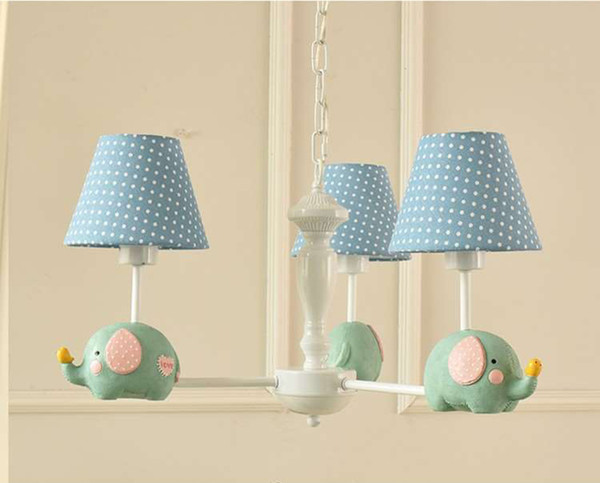 Animal cartoon cute elephant chandelier led lamp Pink Blue e27 cloth for Bedroom baby child kid room hanging lamp light F071