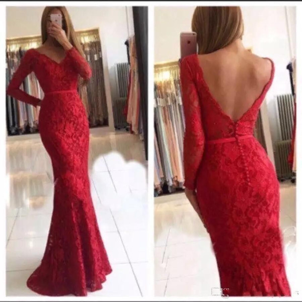 2019 Lace Mermaid Red Prom Dresses Long Sleeves V Neck Backless Party Gowns Plus Size Dresses Evening Wear robe de soiree