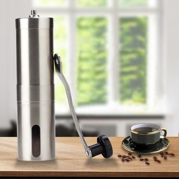 top popular Silver Coffee Grinder Mini Stainless Steel Hand Manual Handmade Coffee Bean Burr Grinders Mill Kitchen Tool Crocus Grinders 2021