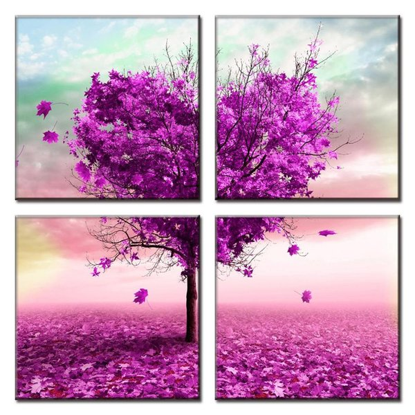 Painting Abstract Art Wall HD Modular 4 Pieces Purple Heart Love Tree Romantic Picture For Living Room Home Decoration Canvas Prints Poster