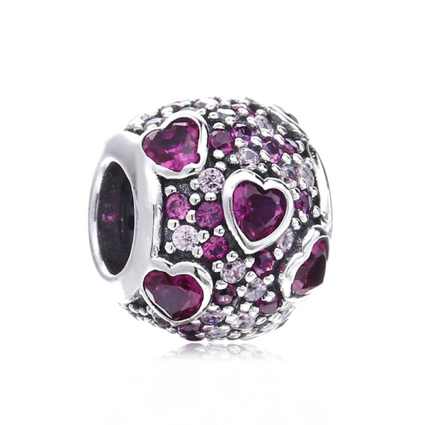 New Authentic 925 Sterling Silver Bead Charm Explosion of Love Charms Crystal Valentines Day Fit Pandora Bracelets Women Diy Jewelry