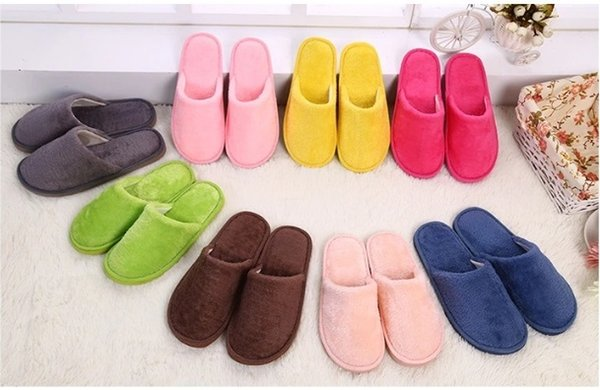 best selling 2018 Direct Selling Jade Red Blue New Plush Spring Autumn And Winter Cotton Slippers Floor Non-slip Warm Mute Eva Fashion Indoor Bedroom