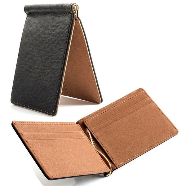 Faux Leather Slim Mens Wallet Money Clip Contract Color Diseño simple Bordes pulidos Hombres nuevos Bifold Wallets