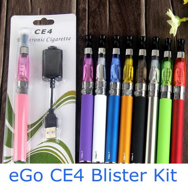 EGO CE4 Blister Kit E-cigarette Kits 650mAh Battery Charger Single Pack Starter Kit eGo-T ce4 Vaporizer Atomizer Vape Pen