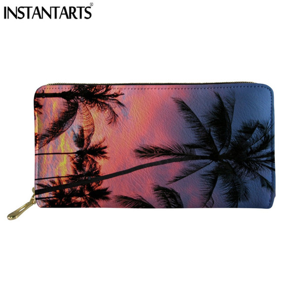 INSTANTARTS Palm Trees Women Wallet Ladies's Brand Design Long Purse Leather Clutch Zipper Coin Card Holder Carteras Mujer Girls
