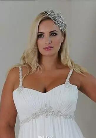 Plus Size Casual Beach Wedding Dresses 2018 Spaghetti Straps Beaded Chiffon beaded court Length Empire Waist Elegant Bridal Gownse