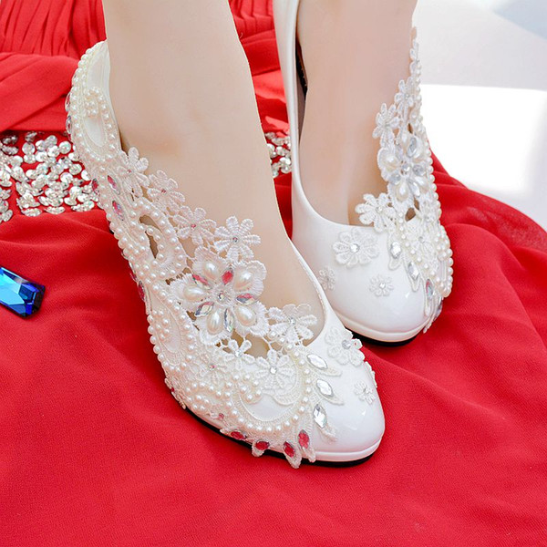 New Bride Shoes Bridesmaid Wedding Shoe Married White Lace Pearl Diamond Heels Wedding Dress Party Shoes Men Sandals Best Shoes From Facai2011