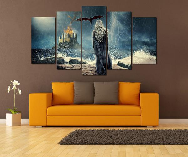 5 Paneller Oyun thrones Modern Soyut Portre Tuval Yağlıboya Baskı Duvar Sanatı Dekor Oturma Odası Ev Dekorasyon Çerçeveli / Çerçevesiz