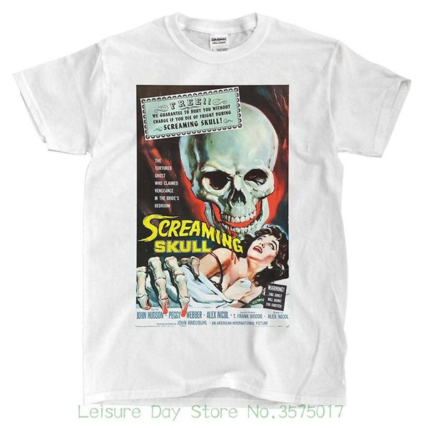 Round Neck Best Selling Male Natural Cotton Shirt Screaming Skull - White T-shirt