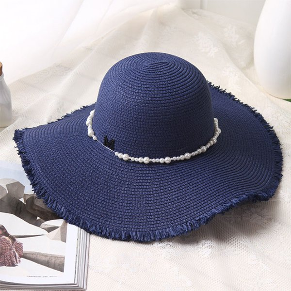 XINCAI Cheap Sell ! Hot Sell !2018 Latest Style Fashion/vacation/sun-resistant navy blue deckle edge women sun hat/wide brim hat