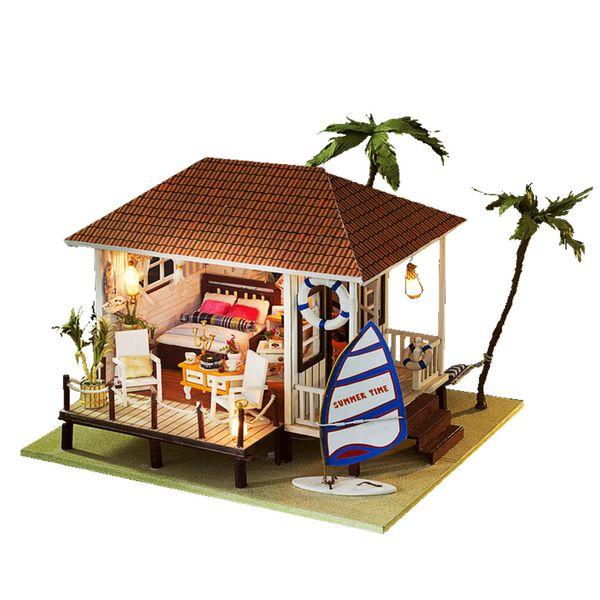 Doll House Minatures Dollhouse Wooden Mini Casa Furnitures Building Kits Villa Model Accessories Toys For Children Adult K005 #E
